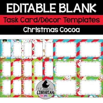 12 Editable Task Card Templates Christmas Cocoa (Landscape