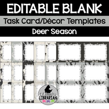 12 Editable Task Card Templates Deer Season (Landscape) Po