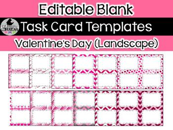 12 Editable Task Card Templates Valentine's Day (Landscape