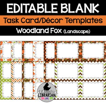 12 Editable Task Card Templates Woodland Fox (Landscape) P