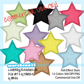 12 Felt Effect Stars Single Color - Clip Art for Teachers