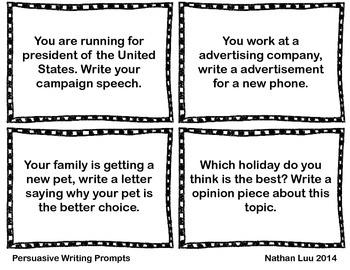 12 Free Persuasive Writing Prompts