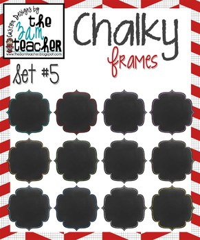 12 Fun Chalky Frames Clip Art - Set 5