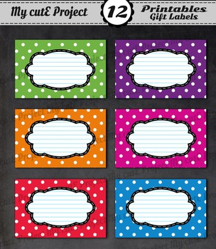 12 GIFT LABELS Printable- Polka dots - Instant Download -