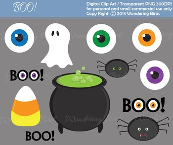 12 Halloween clip arts and 5 Halloween digital scrap paper