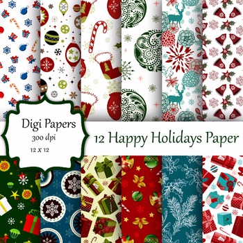 12 Happy Holidays Digital Papers