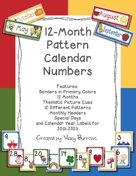 12-Month Pattern Calendar Numbers