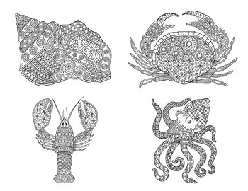 12 Ocean and Sea Creatures Zentangle Coloring Pages
