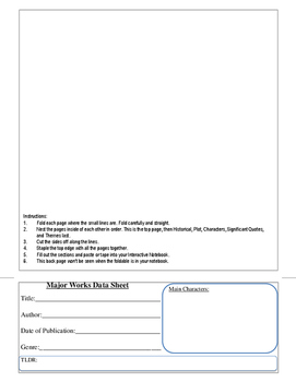 12 Page Flip Book Major Works Data Sheet for Interactive N