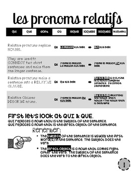 12 Page French Packet explains Relative Pronouns with Practice