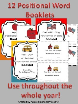 Math Interactive Positional Words BUNDLE! 12 Differentiate