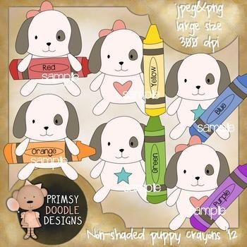 12-Puppy Crayons 300 dpi Clipart