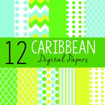 "12 Sheets 12""x12"" Digital Papers - Caribbean"