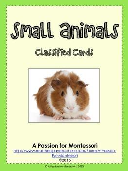 12 Small Animal Three Part Cards Flashcards Montessori