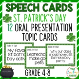 12 St. Patrick's Day Public Speaking Topic Cards for Oral