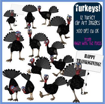 12 Turkey Clip Art for Thanksgiving, Christmas - Commercia