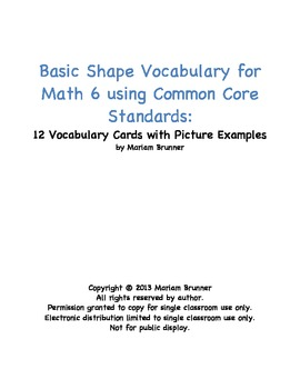 12 Vocabulary Cards of Basic Shapes for Math 6 Common Core