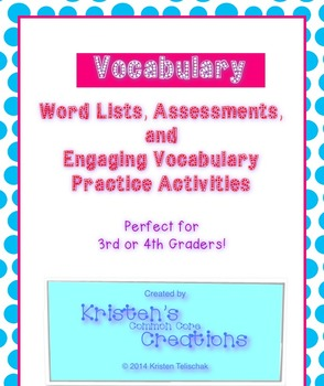 12 Vocabulary Lists Fill-in Blanks Assessments Activities