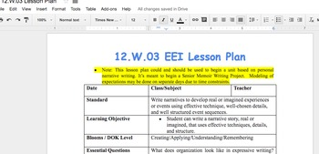 12.W.03 EEI Lesson Plan w/ access to Senior Memoir Project