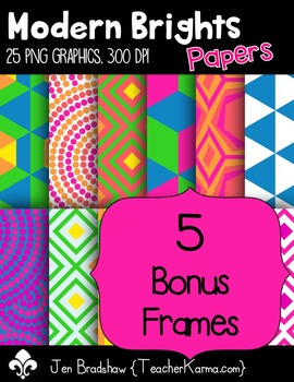 Modern Brights Digital Papers Clip Art