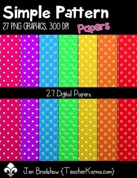 Simple Pattern PAPERS Clip Art ~ CU OK ~ 8.5 x 11