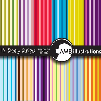 Digital Papers, Bright Colored Stripes PatternsAMB-417