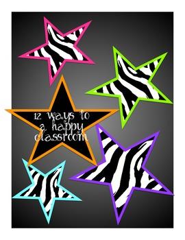 12 ways to a happy classroom, zebra jungle style, first da