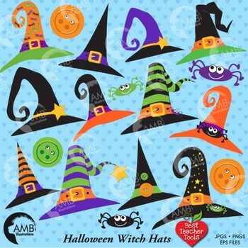 Halloween clipart, Whimsical Witch Hats clipart AMB-207