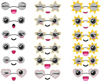 120 PNG Files - Kawaii Summer Faces - Digital Clip Art Gra