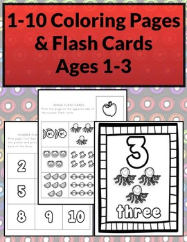 1-10 Coloring Worksheets & Flash Cards B&W (Priscilla Beth