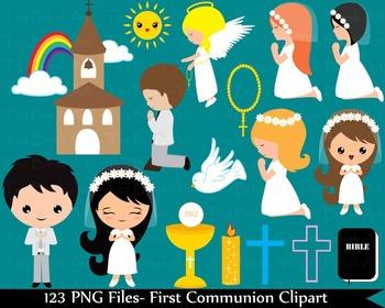 123 PNG Files- First Communion ClipArt -Digital Clip Art 134