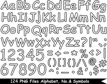 124 PNG Files Outline Alphabet, Numbers & Symbols - Clip A