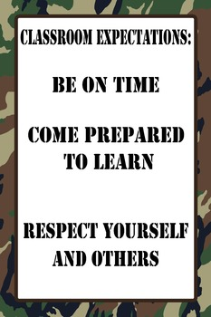 "12""x18"" Classroom Expectations Poster - Camo Background"