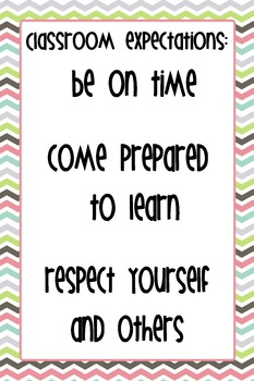 "12""x18"" Classroom Expectations Poster - Chevron Background"