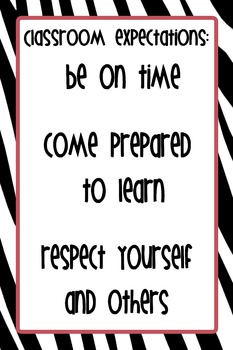 "12""x18"" Classroom Expectations Poster - Zebra Background"