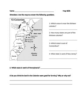 13 Colonials Map Worksheet
