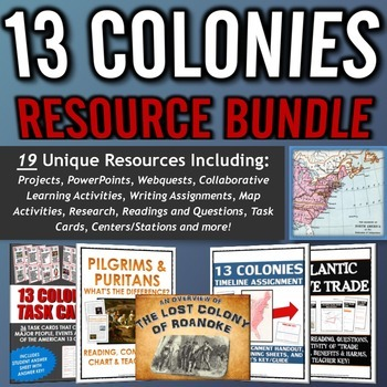 13 Colonies (American Colonies) - Resource Bundle (Project