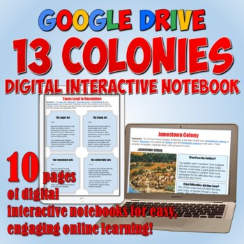 13 Colonies Google Drive Interactive Notebook