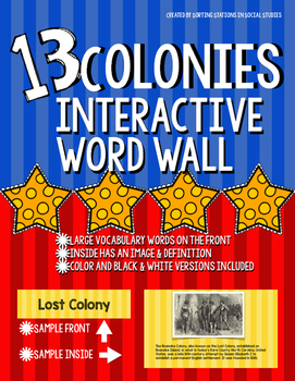 13 Colonies Interactive Word Wall