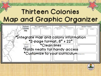 13 Colonies Map Graphic Organizer
