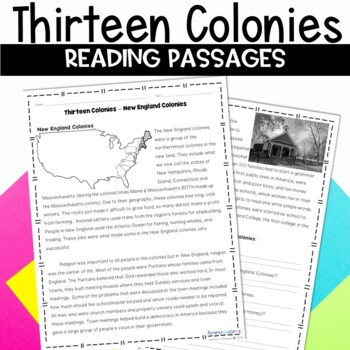 13 Colonies Nonfiction Article and Activity