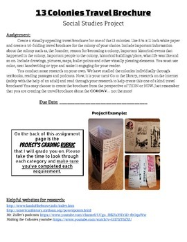 13 Colonies Travel Brochure Project