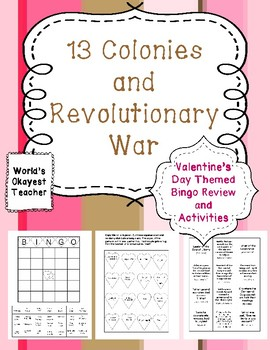 Valentines  Day Themed Games and Activites for 13 Colonies