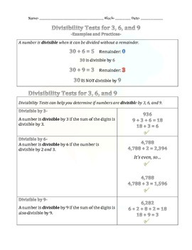 1.3 Divisibility Tests for 3, 6 and 9.
