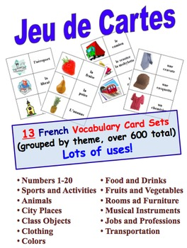 12 French Vocabulary Picture and Word Card Sets (Grouped b