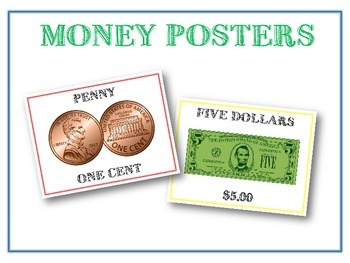 13 Money Posters - Coins & Bills Poster Set - Includes $2