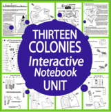 13 Colonies Interactive Notebook Unit~THIRTEEN Literacy Ba