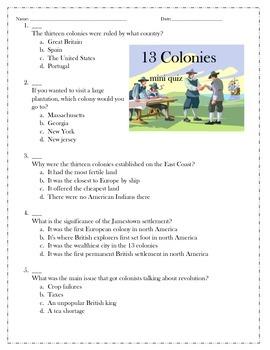 13 colonies mini quiz