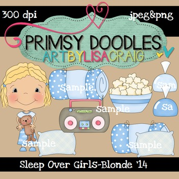 14-Sleep Over Girls-Blonde 300 dpi clipart