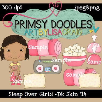 14-Sleep Over Girls-Dk Skin 300 dpi clipart